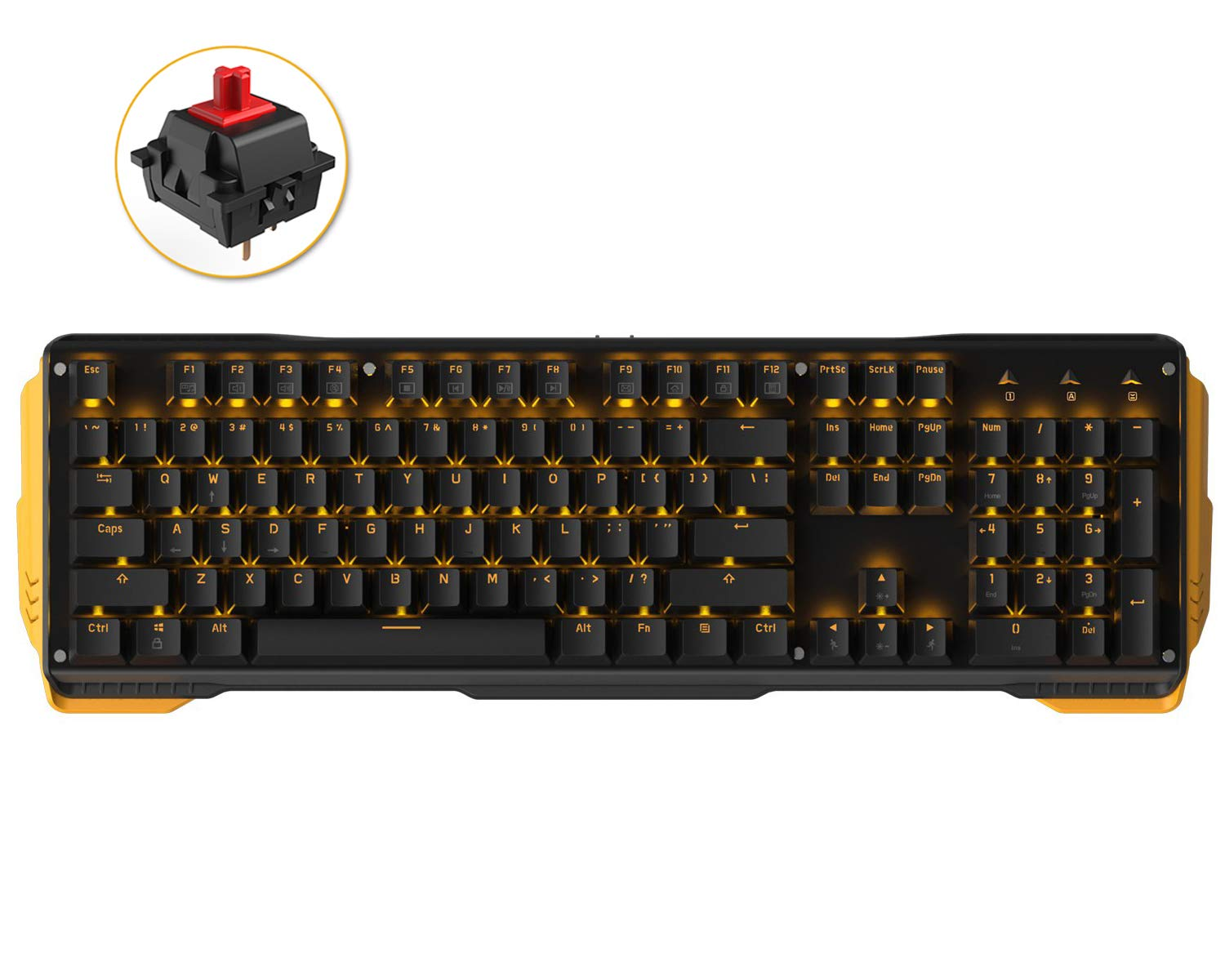 James Donkey 619 Mechanical Keyboard Red Switch GATERON 104 Key 50 Million Click Programmable 13 Customize Backlit LED NKRO Anti Ghosting USB Wired for Gaming PC Desktop Office Laptop - Black
