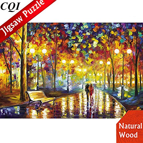 1000 Piece Jigsaw Puzzles for Adults - Stepping On The Rainy Street Wooden Landscapes Puzzles by Artist Leonid Afremov