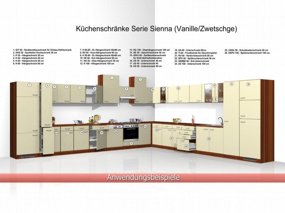 Unterschrank küche günstig  Küchen Unterschrank Sienna 60 cm Vanille Zwetschge Dekor: Amazon.de ...