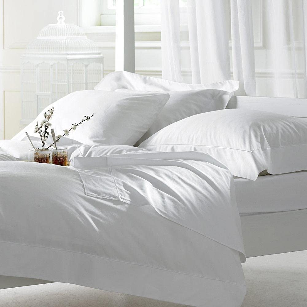 EGYPTIAN COTTON 400 TC WHITE DEEP FITTED SHEET WITH PAIR OF OXFORD PILLOWCASE