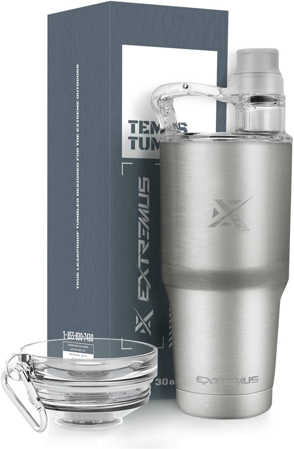 Extremus Temps Stainless Steel Vacuum Insulated Tumbler with 100% Leak-Proof Travel Coffee Mug Lid and Water Bottle Lid(30 oz,Simple Stainless, 2 Lids)