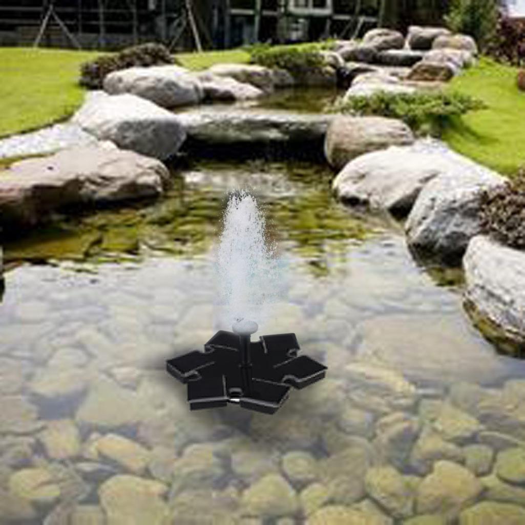 TiTCool Micro Solar Fountain Black Simple Portable Hexagon For Pool Garden Aquarium