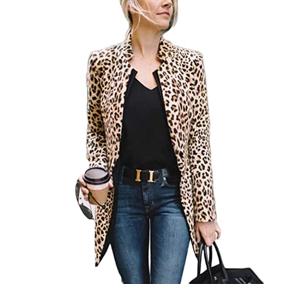 7eeabff515d8 Women Long Sleeve Leopard Print Cardigan Open Front Long Blazer Casual  Outwear Coat Jacket (S