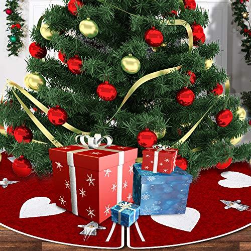 POPLAY Christmas Tree Skirt 40 inches Handmade Swedish Gnome Pattern for Holiday Decoations Xmas Tree Home Decor