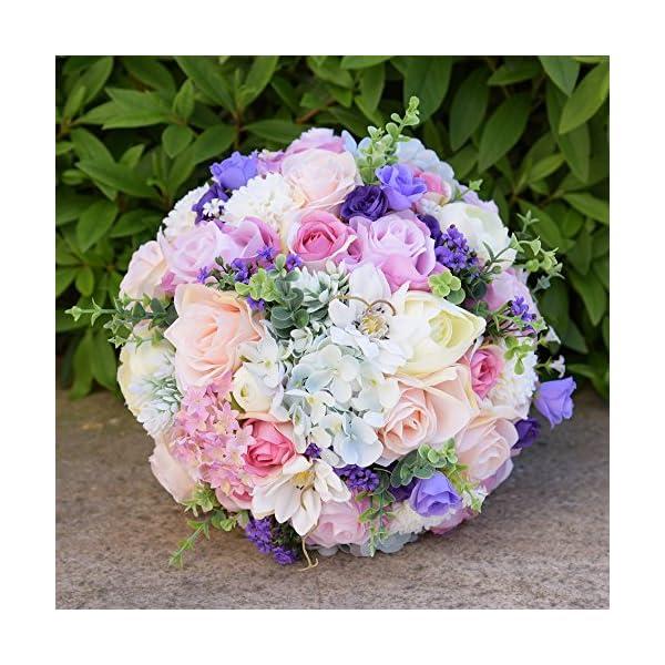 "Zebratown 10"" Peony Bridal Bridesmaid Bouquets Artificial Rose Silk Flowers Bouquet Home Wedding Decoration (Light Blue)"