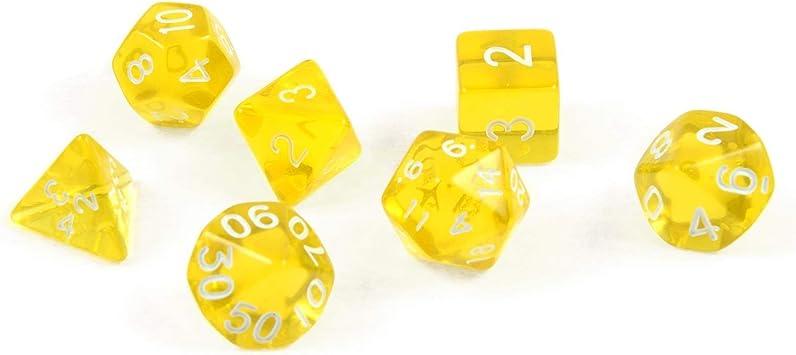 shibby 7 Dados poliédricos en Transparente Amarillo para Juegos de rol y Mesa, Incluye Bolsa: Amazon.es: Juguetes y juegos