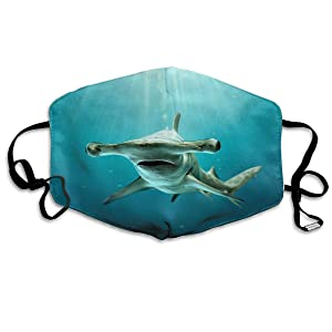 Sea Creature Hammerhead Shark Washable Reusable Mask, Cotton Anti Dust Half Face Mouth Mask For Kids Teens Men Women With Adjustable Ear Loops