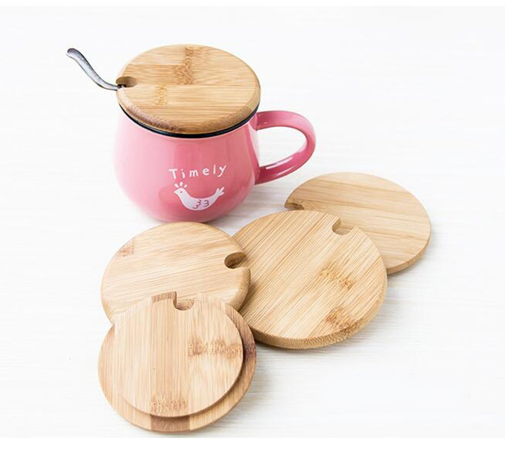 Dedoot 12PCS Wood Lids for Mason Jars, Wooden Mug Cover, Glass Jar Wood Drink Cup Lid with Spoon Hole (φ2.6IN) by Dedoot (Image #6)
