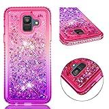 Diamond Quicksand Samsung Galaxy A6 2018 Case,Ostop Glitter Flowing Liquid Sparkle Floating Waterfall Cover,Soft TPU Bling Rhinestone Bumper Girls Cute Gradient Phone Case,Pink-Purple