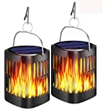 Ollivage Hanging Solar Lights, Dancing Flame Solar Lights Outdoor Hanging Lanterns, Solar Powered Torch Lights and USB…