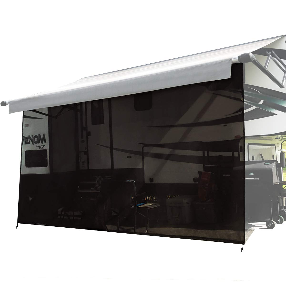 Shadeidea RV Sun Shade Screen for Awning - 8' X 19' 5'' Black Mesh Sunshade Motorhome Camping Trailer UV Sunblocker Canopy Sunscreen Offer 3 Years Warranty by Shadeidea (Image #1)