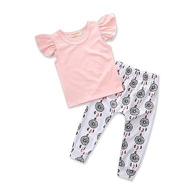 b9af07e35 Samgami Baby Toddler Girls Summer Clothing Cute Pure Pink Tops ...