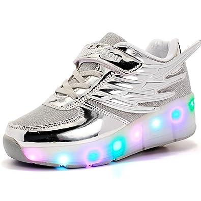 d049602ee2f84d Kinderschuhe mit Rollen LED Skateboardschuhe Kinder Rollschuhe Jungen  Mädchen Turnschuhe Sportschuhe Laufschuhe Sneakers Trainer mit Rollen