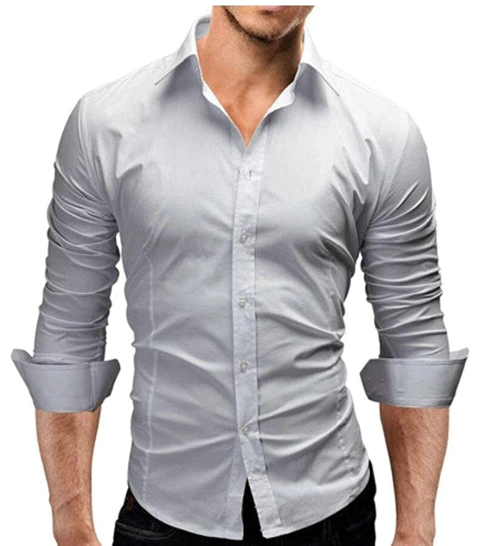 Yayu Mens Long-Sleeve Solid Lapel Fit Business Button Top Shirt