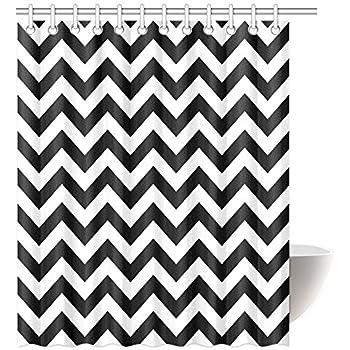 Black White Chevron Shower Curtain. InterestPrint Chevron Shower Curtain  Zig Zag Pattern and Black White Classical Antique Artwork Fabric Amazon com DOTZ
