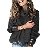 Peaccch Long Sleeve Turtleneck Cable Knit Winter Fall Solid Pullover Sweaters for Women