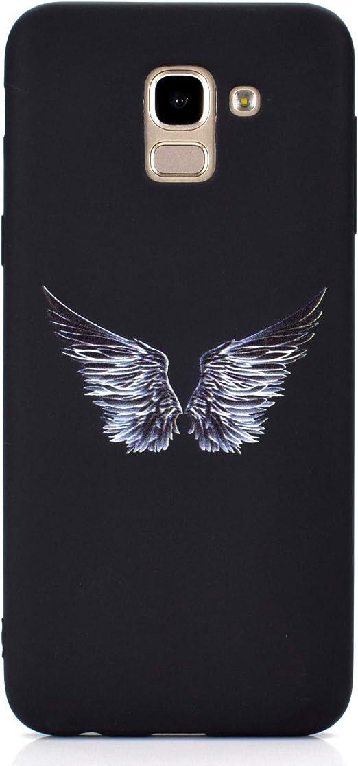 Astronaute ChoosEU Compatible avec 3X Coques pour Samsung Galaxy J6 2018 Silicone Souple Noir Motif Swag pour Filles Femmes Homme Etui Soft /Étui Fine Antichoc Housse Mince Case Protection Lune