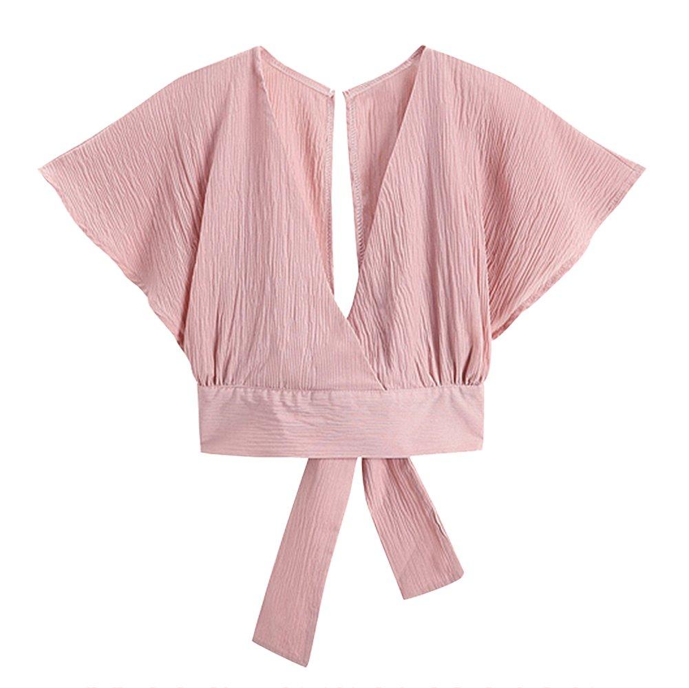 Women Sexy Deep V Neck Cross Slim Fit Crop Short Sleeve Bow Tie Crop Blouse Top