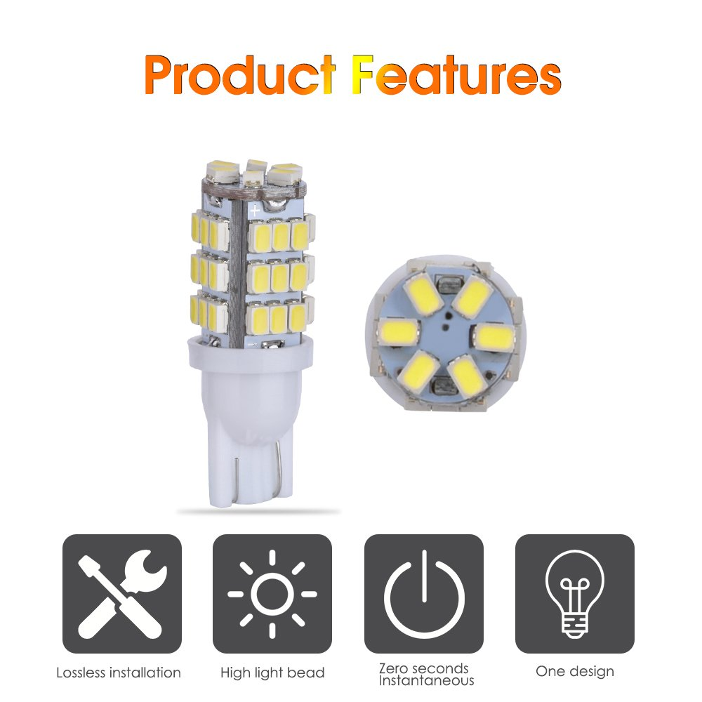 Smauto 194 LED Bulbs Super Bright T10 LED 42smd Led Bulbs RV Trailer T10 921 194 168 2825 1206 Bulb 12V Backup Reverse Warm White Lights Bulbs Parameters Are Real No Virtual Pack of 20-1 Yr Warranty