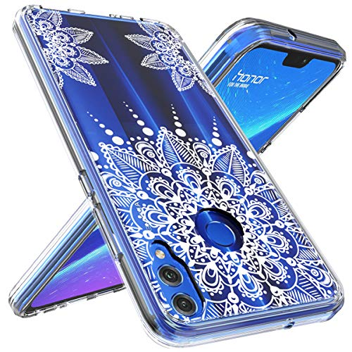 (Honor 8X Case, OUBA [Shock Absorbing] Anti-Scratch Shockproof Floral Lace Clear Slim Design Printed Hard Plastic + TPU Gel Bumper Protective Cover Case for Huawei Honor 8X)