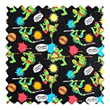 SheetWorld Ninja Turtles Black Fabric - By The Yard - 101.6 cm (44 inches)