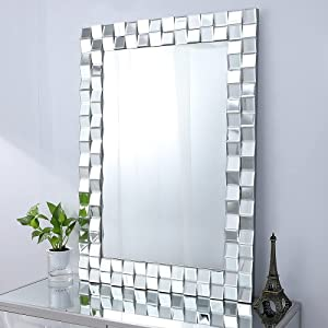 Autdot Large Wall Mirror for Decor, 39''X28'' Modern Decorative Mirror with Glass Frame, Rectangular Accent Mirror for Living Room Entryway