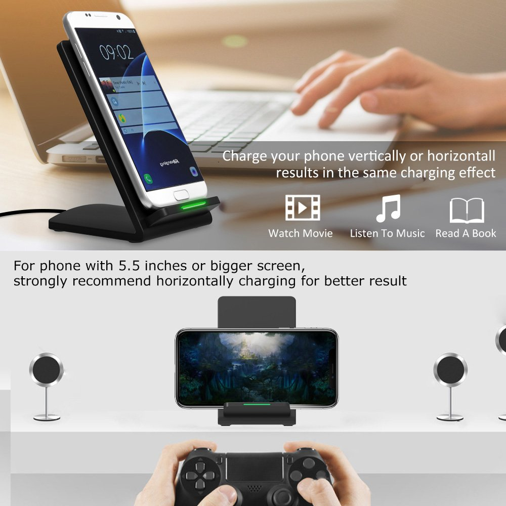 Ifecco iPhone X Wireless Charger, 10 W Fast Wireless Charging Stand for Galaxy Note 8/5 S8/S8 Plus S7/S7 Edge S6 Edge Plus, Standard Charge for iPhone X iPhone 8/8 Plus (Adapter not Include)