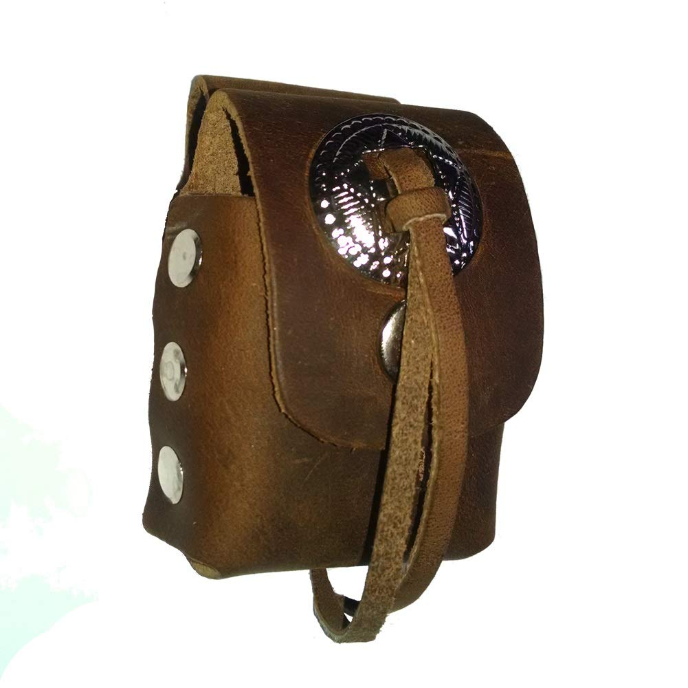 Retro Brown Leather Lighter Case With Concho Accent by Hot Leathers