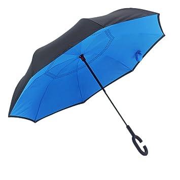 Reverse paraguas doble capa C-Hook mango coche paraguas resistente al viento resistente al agua
