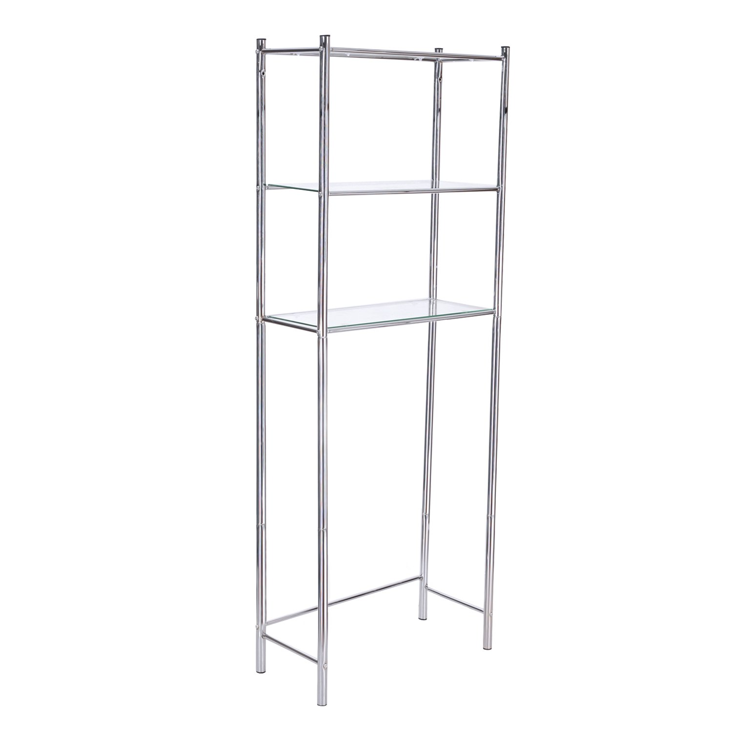 Adeco 11X24.2 inches 3-Tier Bathroom Shelf Space Saver Storage Unit Over Toilet, Glass and Metal, Heights 64.5 Inches
