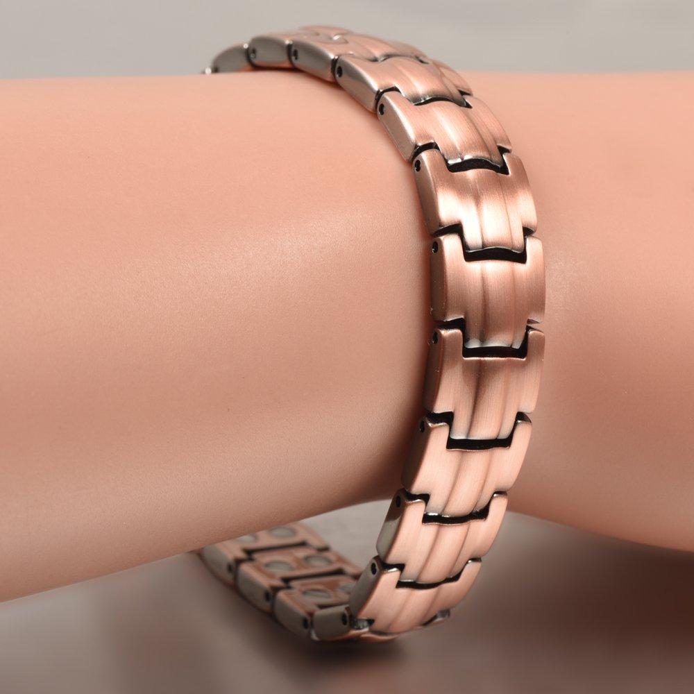 10MMfor Magnet Prime YINOX Bracelet magn/étique en cuivre avec des aimants Extra forts 1200 Gauss pour Les Femmes Bijoux 19,5CM
