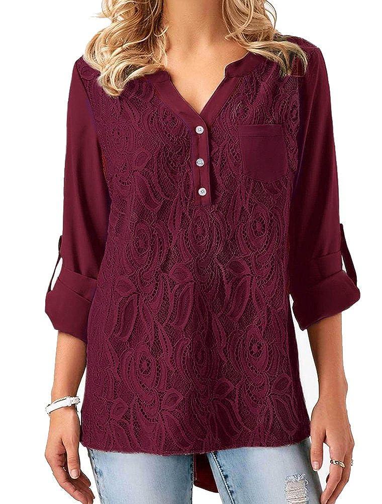 BIUBIONG Women Long Sleeve Lace V Neck Button Down Loose Fit Blouse Shirt