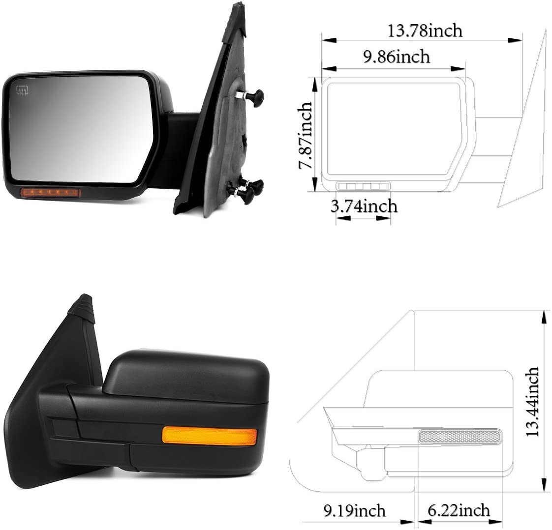 Scitoo Towing Mirrors fit Ford Exterior Accessories Mirrors fit 2007-2014 Ford F-150 Truck with Amber Turn Signal and Puddle Light Heated Power Controlling and Manual Folding Pair