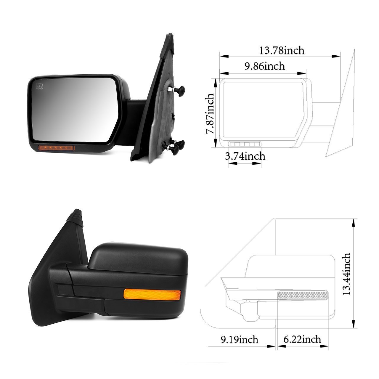 fit Ford Exterior Accessories Mirrors fit 2007-2014 Ford F-150 Truck Amber Turn Signal Puddle Light Heated Power Controlling Manual Folding SCITOO Towing Mirrors Driver Side