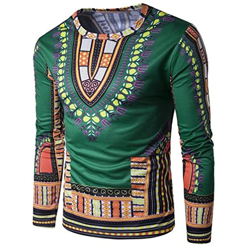 Coper New Mens Fashion Traditional African Print New Style Long Sleeve Shirt (XL, Green) (Mens Floor Length Coat)