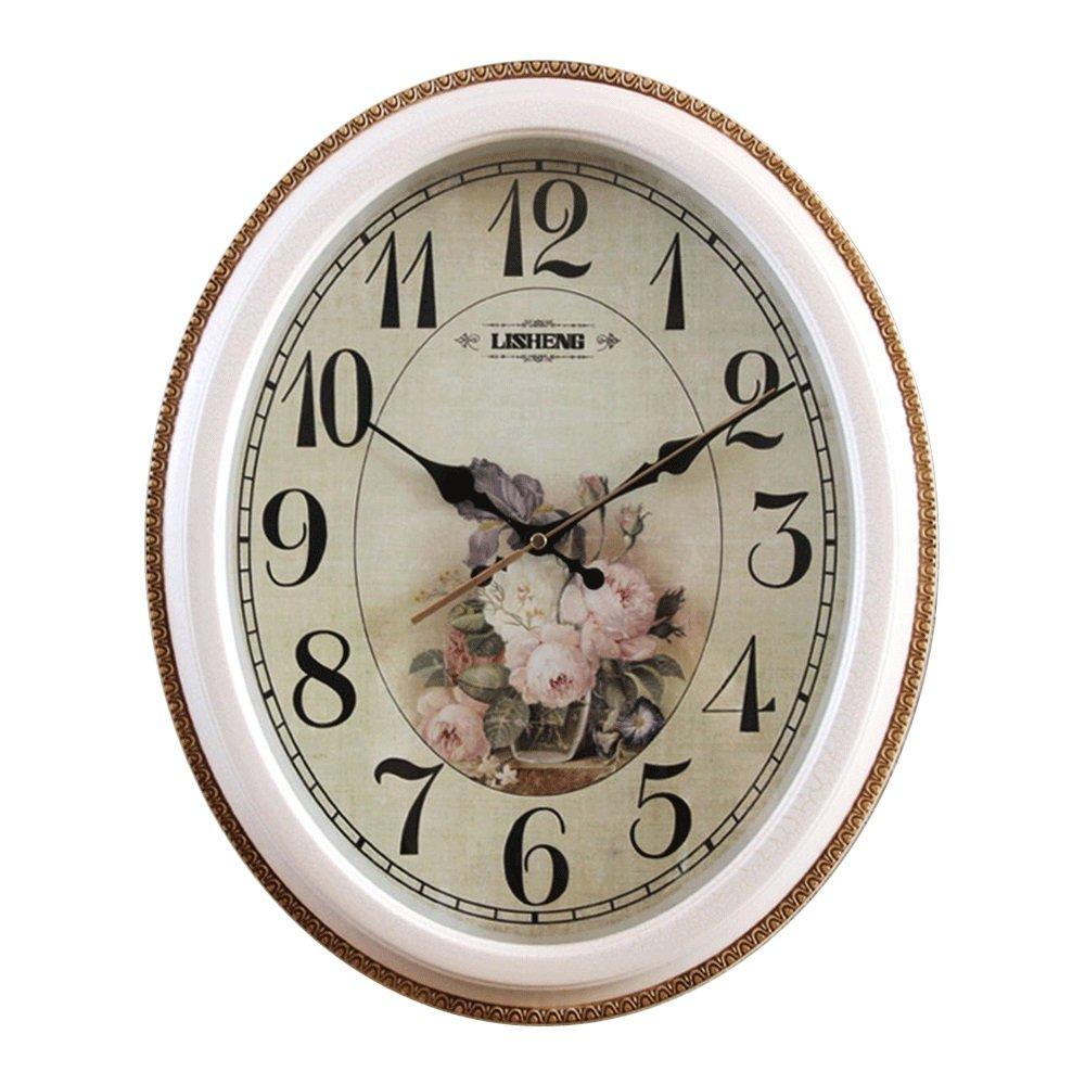 GDXRB リビングルーム、ベッドルーム、キッチン用のヴィンテージウォールクロック マルチカラーのかわいいレトロスタイルの時計の壁ヨーロッパのシンプルなミュートクロックアートパーソナリティ時計装飾的なクォーツ時計 (Design : A, 形状 : Oval) B07DCWVG8H A|Oval Oval A
