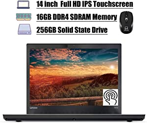 "Premium 2020 Lenovo ThinkPad T470 Laptop, 14.0"" Full HD IPS Touchscreen, Intel Core I5-6200U 2.3GHz, 16GB DDR4 256GB SSD, Thunderbolt Fingerprint WiFi BT 4.1 HDMI Win 10 Pro + ePark Wireless Mouse"