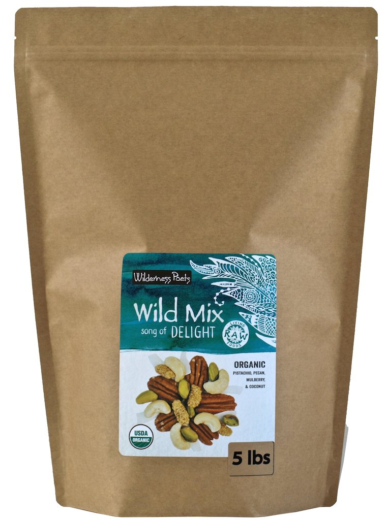 Wilderness Poets, Song of Delight Wild Mix - Organic Raw Trail Mix - Pecans, Cashews, Mulberries, Pistachios, Coconut Ribbons - 5 Pound (80 Ounce)