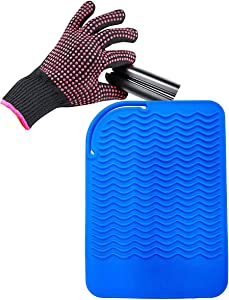 """Curling Iron Mat, Heat Resistant Mat with Heat Resistant Glove for Hair Straightener, Flat Irons, Silicone Bump Glove, 9"""" x 6.5"""" Food Grade Silicone Mat, Blue"""