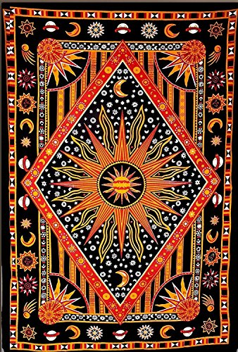 JHC's Twin Golden Burning Sun Tapestry, Celestial Sun Moon Tapestries, Indian Hippie Wall Hanging, Bohemian Bedspread, Astrology Tapestries Throw Wall