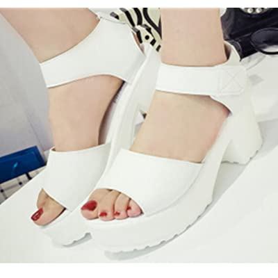 7cm high sandals 2018 Women39;s shoes white high-heeled slippers thick heel open toe platform shoes female sandals