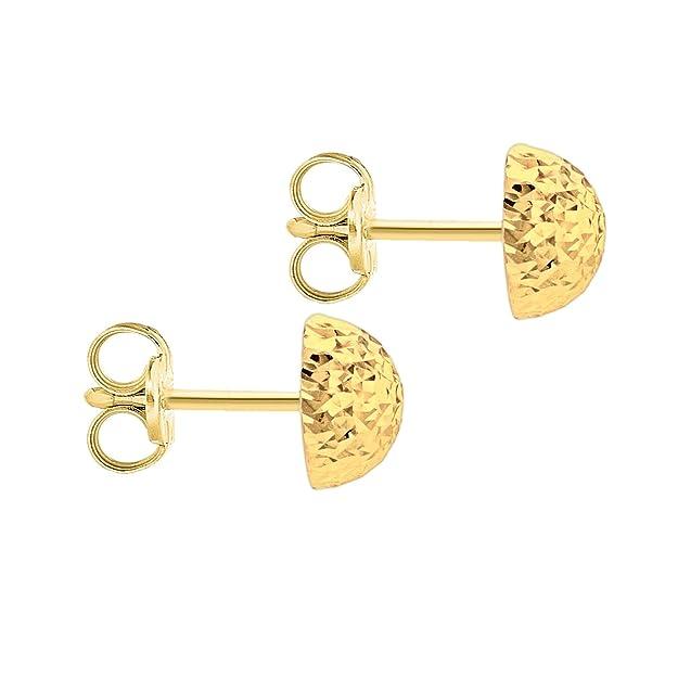 dc08bf559 Carissima Gold Women's 9 ct Yellow Gold 8 mm Diamond Cut Half Ball Stud  Earrings: Amazon.co.uk: Jewellery