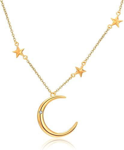 """925 Sterling Silver Star Moon Chain necklace Beautiful Women 16/"""" Inches Jewelry"""