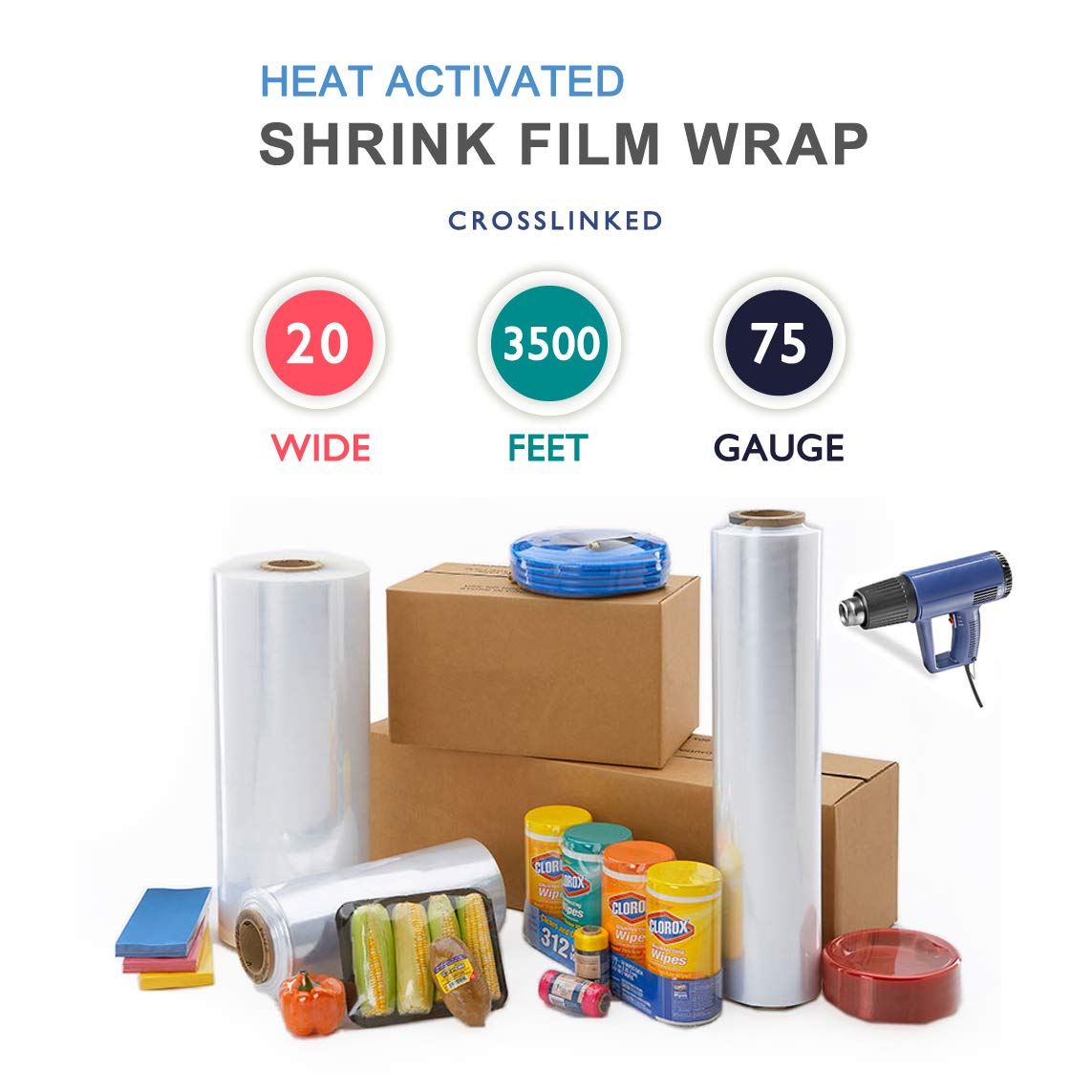 20'' x 3500 ft. Heat Shrink Film Wrap Strong Centerfold Polyolefin 75 Gauge Cross-Linked Heat Activated Shrink Wrap, 1 Roll