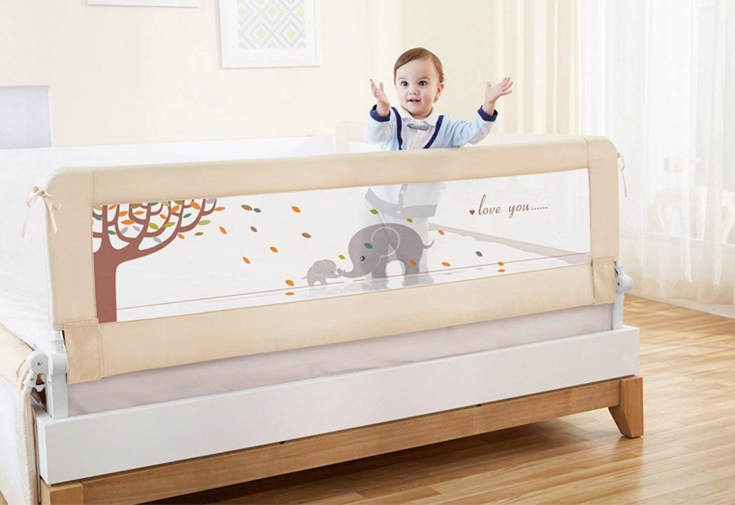 BABY BBZ 59inch Bed Rail - Single Foldable Safety Bedrail with Ventilated Mesh