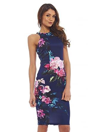 8ba1765c54f6 AX Paris Women's Cut in Detail Neck Floral Printed Midinavy Dress(Navy,  Size:
