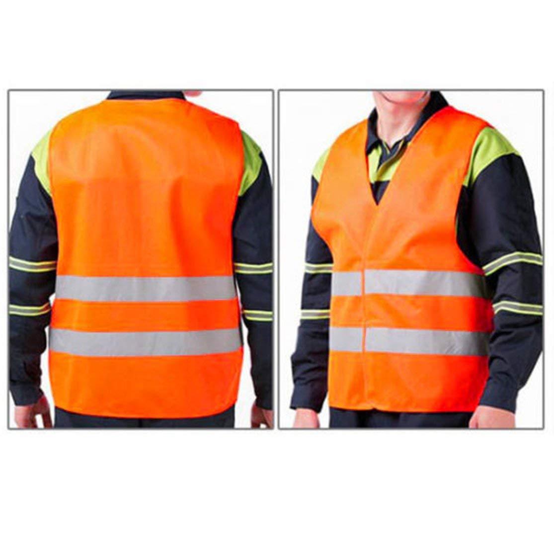 Color:Fluorescent Orange Raya Reflectante Tr/áfico Chaleco de Advertencia Ropa de Trabajo Alta Visibilidad Chaleco Protector para Trabajadores de saneamiento Asistente de polic/ía