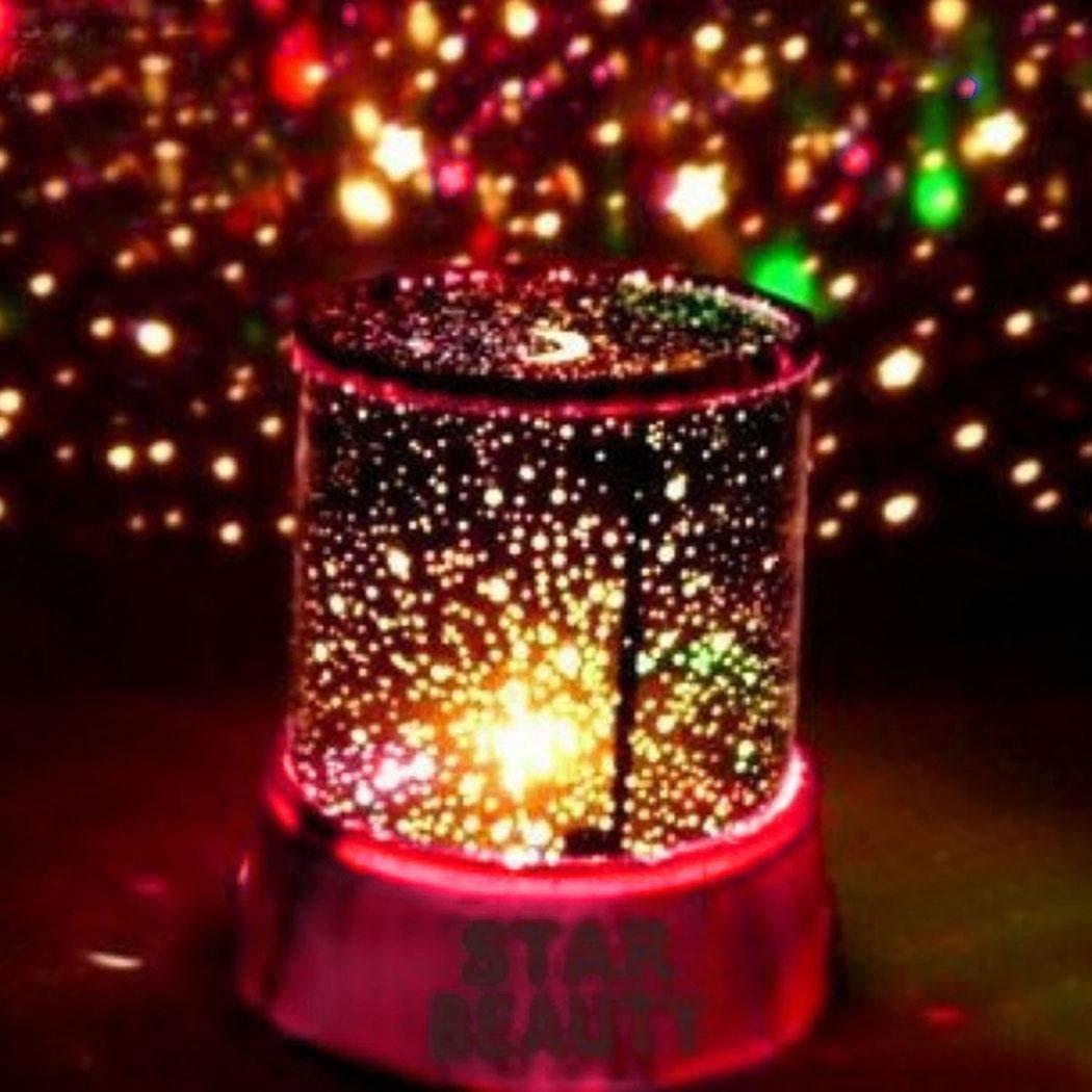 LED Luz Nocturna Star Baby Kids Sleep USB Proyector Rotación Colorida Lámpara de Luz (Rosa)