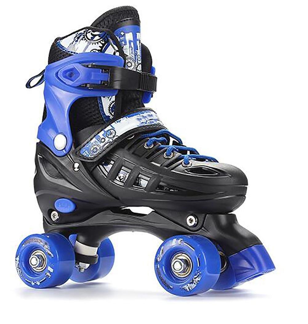 Kid Quad Roller Skates adjustable ABEC -7 , L , blue by WY