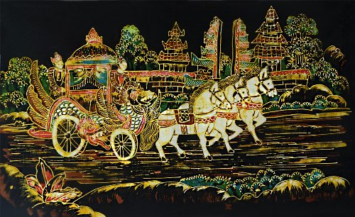 Original Batik Art Painting on Cotton Fabric, 'Traditional Horse Chariot' by Wahid (75cm x 45cm)